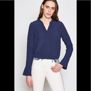 Joie Abe Button Embellished Crepe Midnight blouse